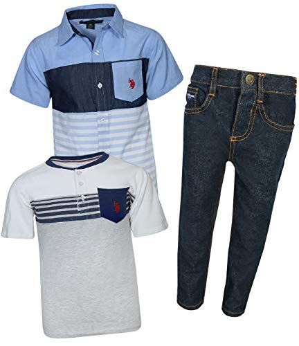 U.S. Polo Assn. Little Boy\'s 3-Piece Pant Set with Woven Shirt and Tee, Denim/Multi Stripe, Size 12'