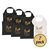 Pop Fizz Designs Bride Tribe Reusable Tote Bags | 7 Pack | 1 Bribe to Be Bag & 6 Bride Tribe Bags - Includes Matching Keychains | Perfect for Bachelorette Party Bags
