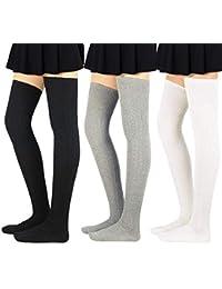 4dc4f94e6e7 Women Stripe Tube Dresses Over the Knee Thigh High Stockings Cosplay Socks