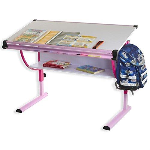 IDIMEX Bureau Enfant écolier Junior Carina Table à Dessin réglable en Hauteur et Plateau inclinable avec Tablette en MDF, Structure en métal laquée Rose