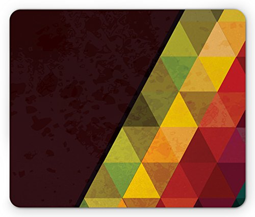 Lunarable Abstract Mouse Pad, Geometrical Triangular Polygons with Aged Grungy Look Stained Glass Style Mosaic, Standard Size Rectangle Non-Slip Rubber Mousepad, ()