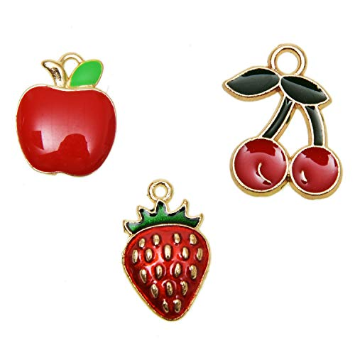 - Pomeat 30 Pieces 3 Style Enamel Charms Gold Plated Fruit Apple  Cherry  Strawberry  Charms for Necklace Bracelet Earring DIY Jewelry Making