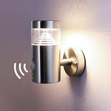 NBHANYUAN Lighting® Aussenleuchte/Außenlampe mit Bewegungsmelder und Dämmerungsschalter LED Aussenwandleuchten für Balkon Silber Edelstahl 3000K Warmweiß Licht 220-240V 1000LM 9.5W (mit PIR Sensor) HY007AUP-2+PIR