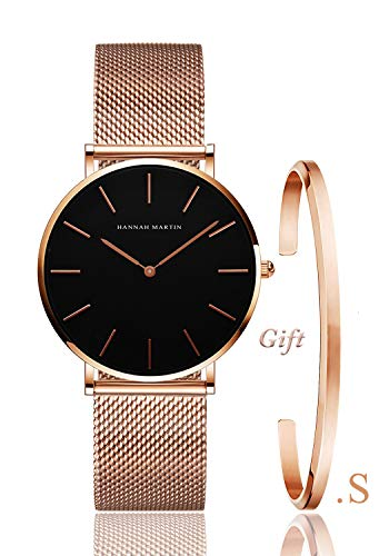 - Women's Rose Gold Watch Gift Set Stainless Steel Mesh Strap Ladies Watch Simple and Elegant (with Small Bangle)