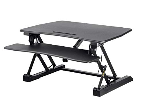 Monoprice Electric Sit-Stand Riser Desk Converter - Black (35.4 x 23.2in) Table Top for Single Display, Height Adjustable 5.9