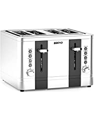 BREVO 4-Slice 1500W Toaster Extra Wide Slot for Bagel Bread Breakfast with Reheat Defrost 7-Shade Control Brushed Stainless Steel