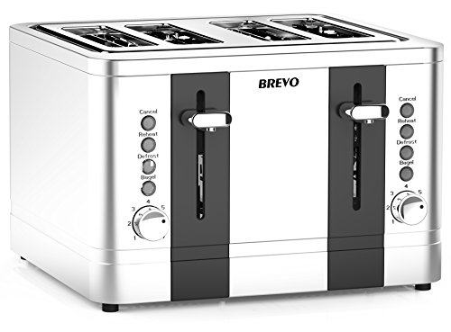 BREVO 4-Slice 1500W Toaster Extra Wide Slot for Bagel Bread Breakfast with Reheat Defrost 7-Shade Control Brushed Stainless Steel (Panel Full Piece 4)