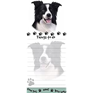 """""""Border Collie Magnetic List Pads"""" Uniquely Shaped Sticky Notepad Measures 8.5 by 3.5 Inches 18"""