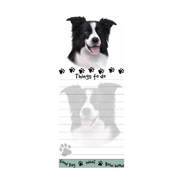 """""""Border Collie Magnetic List Pads"""" Uniquely Shaped Sticky Notepad Measures 8.5 by 3.5 Inches 1"""
