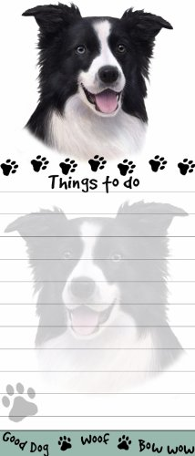 """""""Border Collie Magnetic List Pads"""" Uniquely Shaped Sticky Notepad Measures 8.5 by 3.5 Inches"""