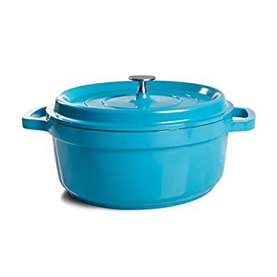 Crock-Pot 98259.02 Edmound Round Cast Aluminium Dutch Oven with Non-Stick Surface, 5 Quart, Turquoise