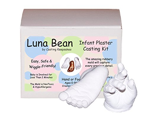 (Luna Bean Infant Plaster Statue Casting Keepsake Kit - Cast Baby Hand & Foot (0-9M) (Clear Glaze))