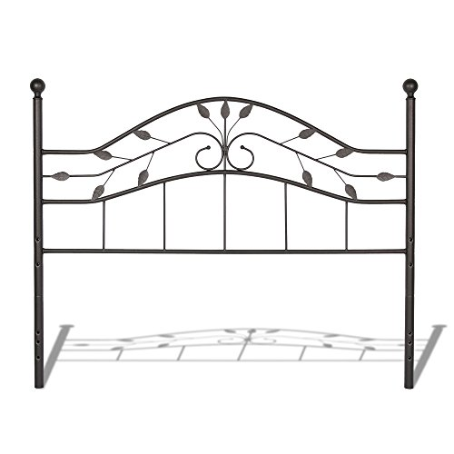 Sycamore Headboard with Arched Metal Panel and Leaf Pattern Design, Hammered Copper Finish, (Cottage Iron Bed)