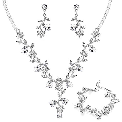 Flower Costume Jewelry - LOYALLOOK Bridal Jewelry Set Crystal Flower Leaf Necklace Earring Bracelet Jewelry Set Costume Jewelry for Women