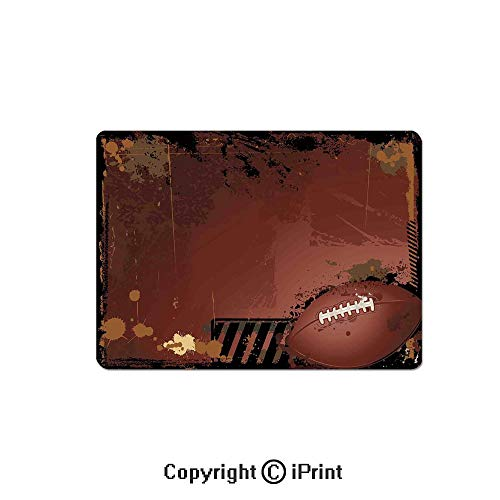 - Anti-Slip Mouse Pad,Maroon Grunge Rugby Theme with Game Elements Competition Win Sports Artisan Image Mouse Mat,Non-Slip Rubber Base Mousepad,7.9x9.5 inch,Brown Black