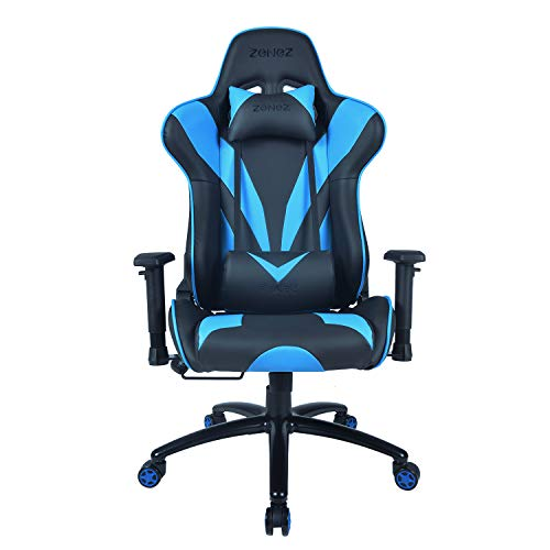 ZENEZ Gaming Chair Video Game Chairs Racing Style PU Leather High Back Adjustable with Headrest and Lumbar Support for Long Sessions of Computer Gaming or Office Working (Blue)
