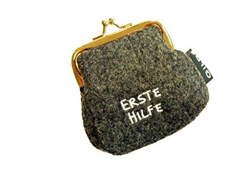Portamonete / Borsa clic clac in feltro grigio chiaro / scuro con scritta tedesca ricamata - Portamonete scuro Erste Hilfe