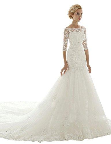 Sarahbridal Women's Mermaid Chapel Train Wedding Dress Bridal Gown Ivory US12