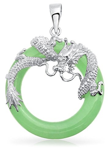 - Dyed Green Jade Open Circle Dragon Pendant Rhodium Plated Necklace 18 Inches