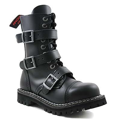 Angry Itch - 10-Agujeros Botas goticas Punk de Cuero Nero con 5 Hebillas y con Ziper - Numéros 36-48 - Hecho in EU!, EU-Größe:EU-36