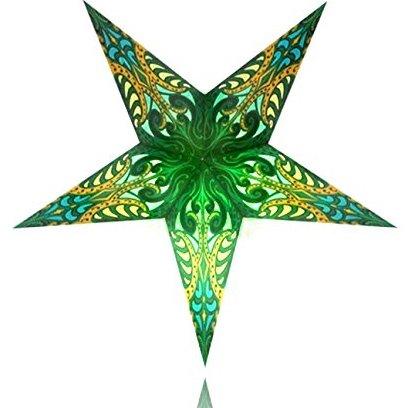 Happy Sales HSSL-FLGRNA Frozen Lake Paper Star Lantern Green,