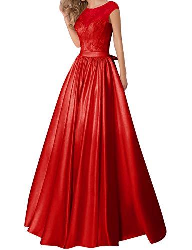 Satin Formel Longue Nu Jaeden Mariée Avec Robe Bal Robes Ceinture De Rouge Dentelle Dos Soirée YxqCAqPUw