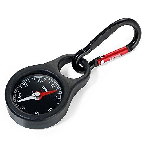 Troika Kompass Wegweiser - COS10/BK - Schlüsselhalter mit Kompass und Karabiner - schwarz - PVC/Acryl/Silikon - Aluminium - das Original