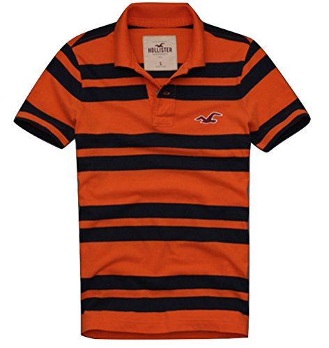 NWT Authentic Hollister by Abercrombie & Fitch A&F Mens Pacific Coast Polo ORANGE STRIPE