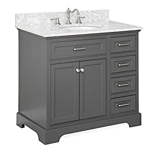 Aria Bathroom Vanity Carrara Charcoal Gray Amazon Com