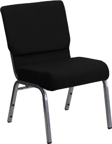 Armless Stacking Guest Chair - Flash Furniture HERCULES Series 21''W Stacking Church Chair in Black Fabric - Silver Vein Frame