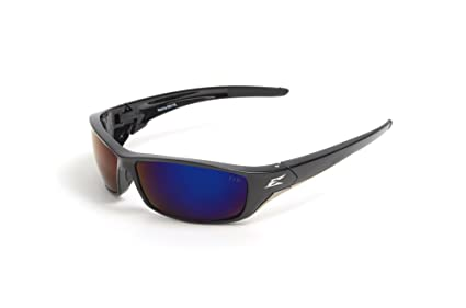 Edge gafas Tsrap218 Reclus gafas de seguridad, negro con Aqua precisión polarizadas azul espejo lente