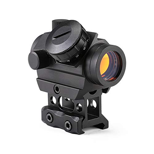 (Pinty 1 x 25mm Tactical Red Dot Sight Riser Mount Cowitness Iron Sights 3-4 MOA Compact Red Dot Scope)
