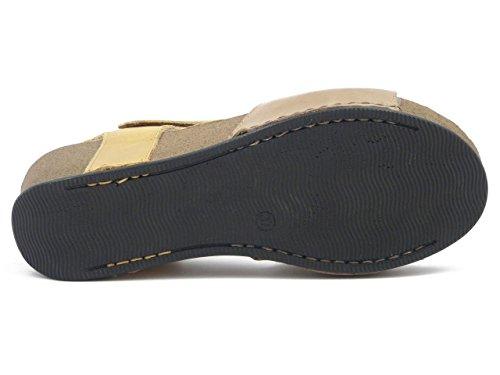 Atema, Sandalo in pelle colore giallo/cuoio, zeppa 6cm., 7831 e17