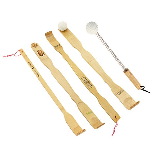 BambooMN 5 Piece Set – 5x Traditional Back Scratcher and Body Relaxation Massager Set for Itching Relief, 100% Natural Bamboo