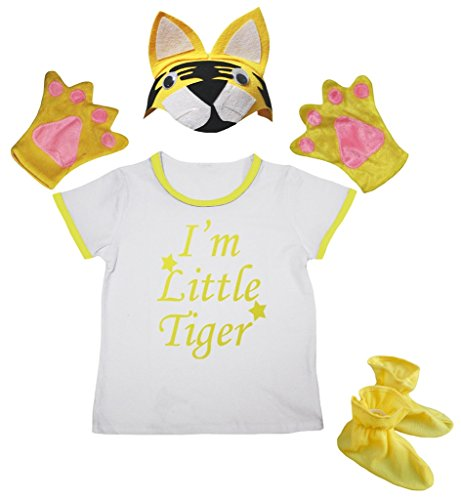 Petitebella I'm Little Tiger Shirt Yellow Hat Glove Shoes Girl 4pc Costume 1-8y (3-4 Years)