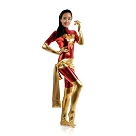 - 41RmtbtOTYL - Female Lycra Shiny Metallic Jean Dark Phoenix Catsuit