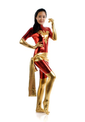 Blacksunnyday Female Lycra Shiny Metallic X-men Jean Dark Phoenix Catsuit (M, Red) ()