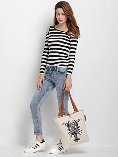 IN.RHAN Women's Lobster Geometric Pattern Canvas Handbag Tote Bag Shoulder Bag