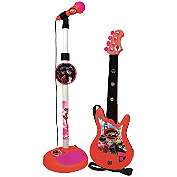 reig 2675 ladybug electric guitar with stand microphone and amp toys games. Black Bedroom Furniture Sets. Home Design Ideas