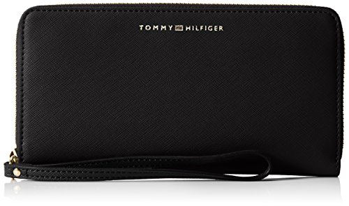 Tommy Hilfiger Damen TH Twist Large ZA Wallet Saffiano Geldbörsen, Schwarz (Black 002), 19x10x2 cm