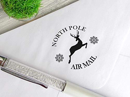 - North Pole Stamp Christmas Mail Stamp Custom Made Rubber Stamp for Cards Xmas Gift Wrap Stamp Deer Snowflake Stamp Custom Self Inking Stamp North Pole Postmark