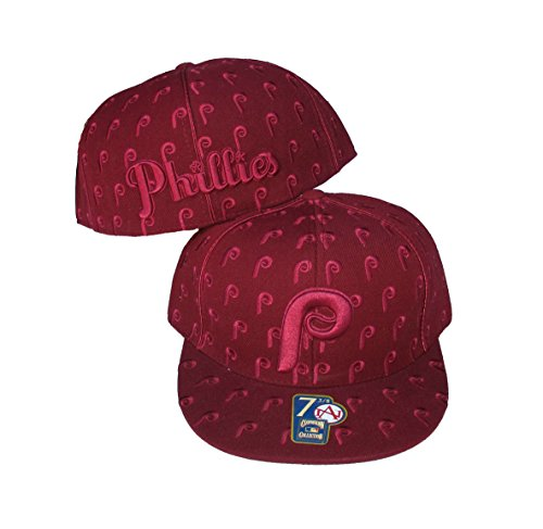Philadelphia Phillies DICE Fitted Size 7 3/4 Cooperstown Collection Hat Cap Burgandy