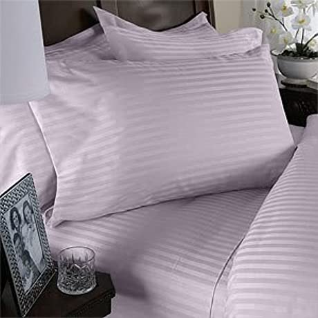 7 Pc Lavender Damask Stripe California King Size Bed Sheet Duvet Cover Set 600 Thread 100 Natural Combed Cotton