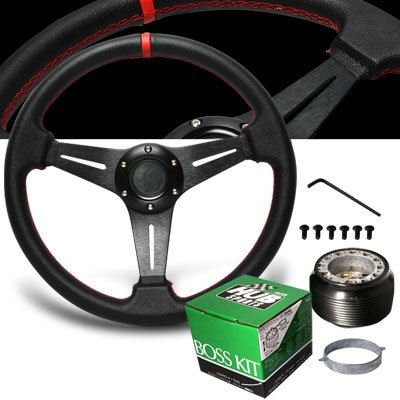 1993-1997 Honda Del Sol Red Stitches PVC Leather Steering Wheel with Hub Adaptor -