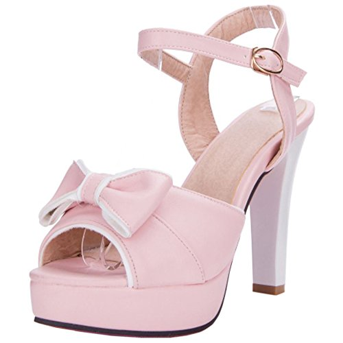 Sandals Shoes Toe Women Platform TAOFFEN Peep Pink Ankle Strap ZTfnnWcP