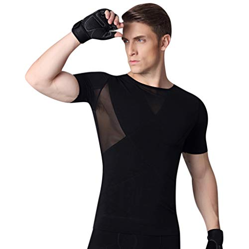 TIFENNY Corset for Men Clothes Control Slim Stomach Corset Shaping Body-Shaping Tied Shapeware Tops Black (Top Pantyhose Slim Control)