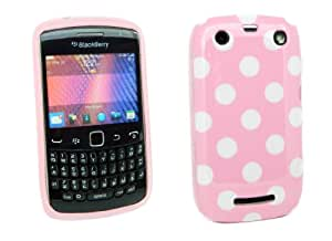 Kit Me Out ES ® Funda de gel TPU para BlackBerry Curve 9350 / 9360 / 9370 3G - Rosa, Blanco Lunares
