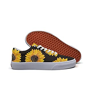 Milner Gilese Sunflower Shoes Yellow Cute Shoes, Comfortable Sunflower Sneakers for Women Lace-up Tennis Skate Shoes
