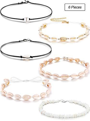 meekoo 6 Pieces Shell Choker Necklace Set Natural Shell Pearl Choker Necklace Hawaiian Style Necklace for Beach Women Girls ()