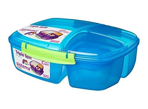 Sistema Lunch Collection Triple Split Lunch Box with Yogurt Pot Food Storage Container, 67.6 oz, (Sistema Klip It Split)